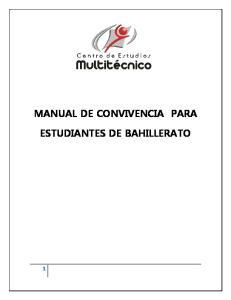 MANUAL DE CONVIVENCIA PARA ESTUDIANTES DE BAHILLERATO