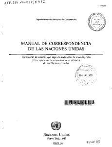 MANUAL DE CORRESPONDENCIA DE LAS NACIONES UNIDAS