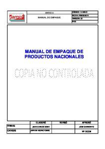 MANUAL DE EMPAQUE DE PRODUCTOS NACIONALES