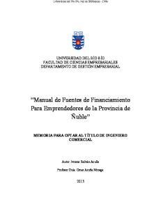 Manual de Fuentes de Financiamiento Para Emprendedores de la Provincia de Ñuble