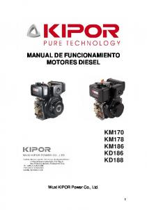 MANUAL DE FUNCIONAMIENTO MOTORES DIESEL KM170 KM178 KM186 KD186 KD188