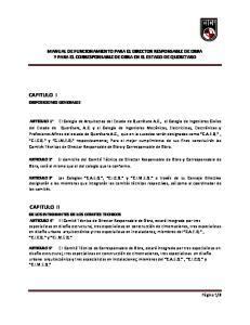 MANUAL DE FUNCIONAMIENTO PARA EL DIRECTOR RESPONSABLE DE OBRA Y PARA EL CORRESPONSABLE DE OBRA EN EL ESTADO DE QUERETARO