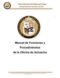 Manual de Funciones y Procedimientos de la Oficina de Actuarios