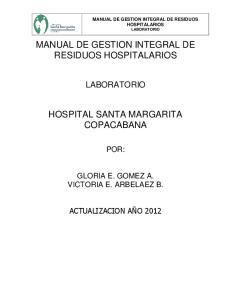 MANUAL DE GESTION INTEGRAL DE RESIDUOS HOSPITALARIOS HOSPITAL SANTA MARGARITA COPACABANA