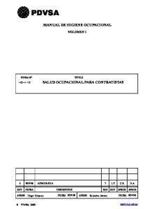 MANUAL DE HIGIENE OCUPACIONAL SALUD OCUPACIONAL PARA CONTRATISTAS
