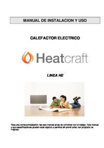 MANUAL DE INSTALACION Y USO CALEFACTOR ELECTRICO