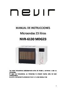 MANUAL DE INSTRUCCIONES. Microondas 23 litros NVR 6130 MDG23