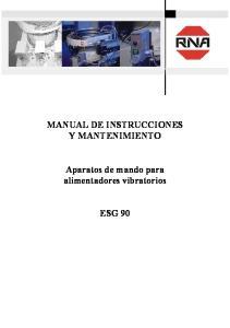 MANUAL DE INSTRUCCIONES Y MANTENIMIENTO