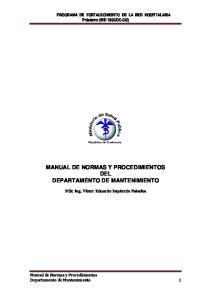 MANUAL DE NORMAS Y PROCEDIMIENTOS DEL DEPARTAMENTO DE MANTENIMIENTO
