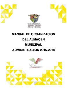 MANUAL DE ORGANIZACION DEL ALMACEN MUNICIPAL ADMINISTRACION