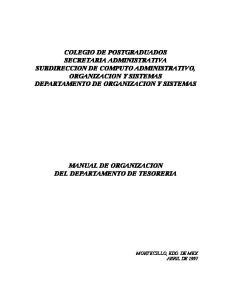 MANUAL DE ORGANIZACION DEL DEPARTAMENTO DE TESORERIA