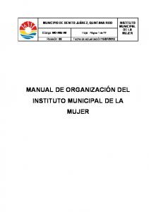MANUAL DE ORGANIZACIÓN DEL INSTITUTO MUNICIPAL DE LA MUJER