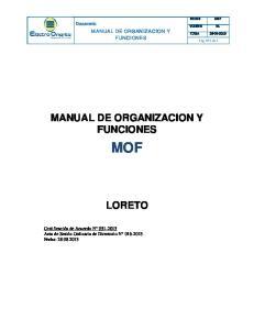 MANUAL DE ORGANIZACION Y FUNCIONES MOF LORETO