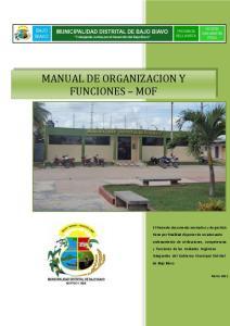 MANUAL DE ORGANIZACION Y FUNCIONES MOF