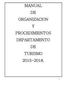 MANUAL DE ORGANIZACION Y PROCEDIMIENTOS DEPARTAMENTO DE TURISMO