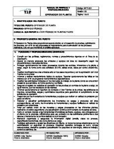 MANUAL DE PERFILES Y RESPONSABILIDADES OPERADOR DE PLANTA