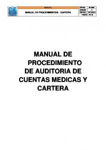 MANUAL DE PROCEDIMIENTO DE AUDITORIA DE CUENTAS MEDICAS Y CARTERA