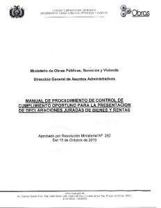 MANUAL DE PROCEDIMIENTO DE CONTROL DE CUMPLIMIENTO OPORTUNO PARA LA PRESENTACION DE DECLARACIONES JURADAS DE BIENES Y RENTAS