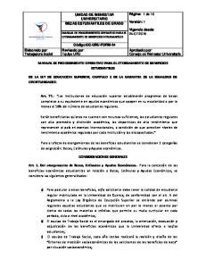 MANUAL DE PROCEDIMIENTO OPERATIVO PARA EL OTORGAMIENTO DE BENEFICIOS ESTUDIANTILES CONSIDERACIONES GENERALES