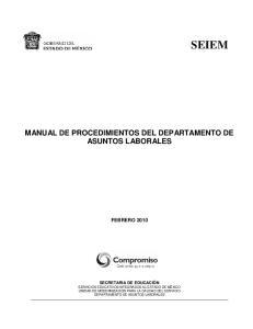 MANUAL DE PROCEDIMIENTOS DEL DEPARTAMENTO DE ASUNTOS LABORALES FEBRERO 2010