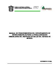 MANUAL DE PROCEDIMIENTOS DEL DEPARTAMENTO DE BIENES INMUEBLES PARA LA REGULARIZACION INMOBILIARIA DEL INSTITUTO DE SALUD DEL ESTADO DE MEXICO