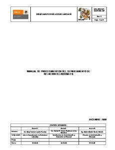 MANUAL DE PROCEDIMIENTOS DEL DEPARTAMENTO DE RELACIONES LABORALES