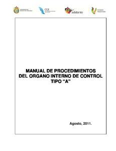 MANUAL DE PROCEDIMIENTOS DEL ORGANO INTERNO DE CONTROL TIPO A