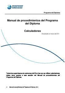 Manual de procedimientos del Programa del Diploma. Calculadoras