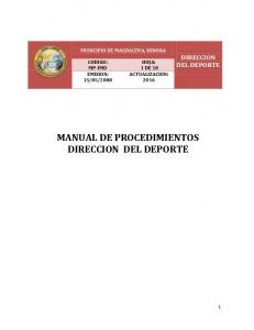 MANUAL DE PROCEDIMIENTOS DIRECCION DEL DEPORTE