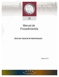 Manual de Procedimientos. Dirección General de Administración
