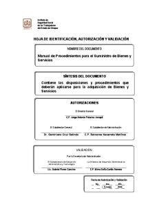 Manual de Procedimientos para el Suministro de Bienes y Servicios