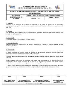 MANUAL DE PROCEDIMIENTOS PARA LA ADMISION DE PACIENTES DE ASEGURADORAS