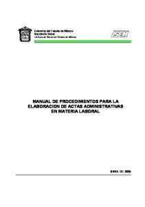 MANUAL DE PROCEDIMIENTOS PARA LA ELABORACION DE ACTAS ADMINISTRATIVAS EN MATERIA LABORAL