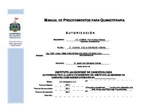 MANUAL DE PROCEDIMIENTOS PARA QUIMIOTERAPIA