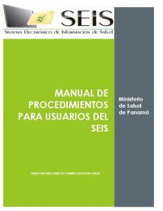 MANUAL DE PROCEDIMIENTOS PARA USUARIOS DEL SEIS