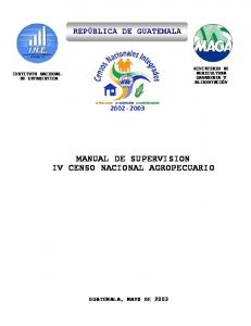 MANUAL DE SUPERVISION IV CENSO NACIONAL AGROPECUARIO