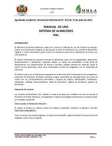 MANUAL DE USO SISTEMA DE ALMACENES SIAL