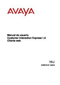 Manual de usuario Customer Interaction Express 1.0 Cliente web