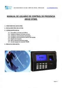 MANUAL DE USUARIO DE CONTROL DE PRESENCIA ANVIZ EP300