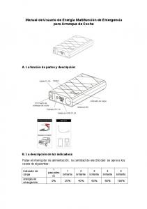 Manual de Usuario de Energía Multifunción de Emergencia para Arranque de Coche