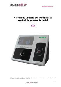 Manual de usuario del Terminal de control de presencia facial FA2