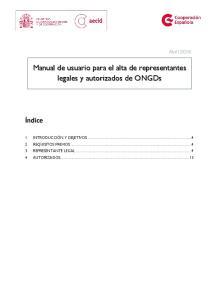 Manual de usuario para el alta de representantes legales y autorizados de ONGDs