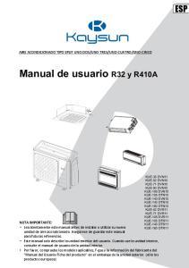 Manual de usuario R32 y R410A