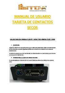 MANUAL DE USUARIO TARJETA DE CONTACTOS SECOS