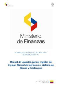 Manual de Usuarios para el registro de ingreso Manual de bienes en el sistema de Bienes y Existencias