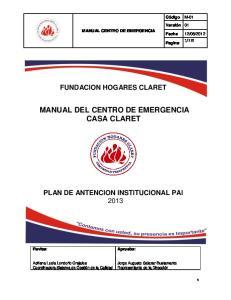 MANUAL DEL CENTRO DE EMERGENCIA CASA CLARET