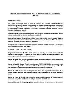 MANUAL DEL CUESTIONARIO PARA EL RESPONSABLE DEL CENTRO DE SALUD