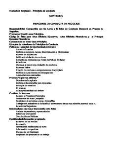 Manual del Empleado Principios de Conducta CONTENIDO PRINCIPIOS DE CONDUCTA DE NEGOCIOS