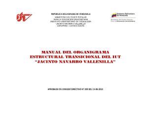MANUAL DEL ORGANIGRAMA ESTRUCTURAL TRANSICIONAL DEL IUT JACINTO NAVARRO VALLENILLA