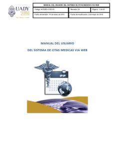 MANUAL DEL USUARIO DEL SISTEMA DE CITAS MEDICAS VIA WEB